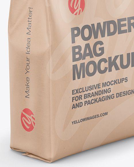 Download Kraft Powder Bag Mockup Half Side View In Bag Sack Mockups On Yellow Images Object Mockups In 2021 Bag Mockup Mockup Kraft