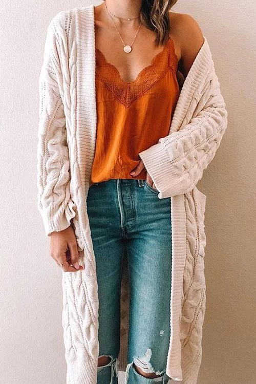Photo of Twist Knit Pockets Cardigan