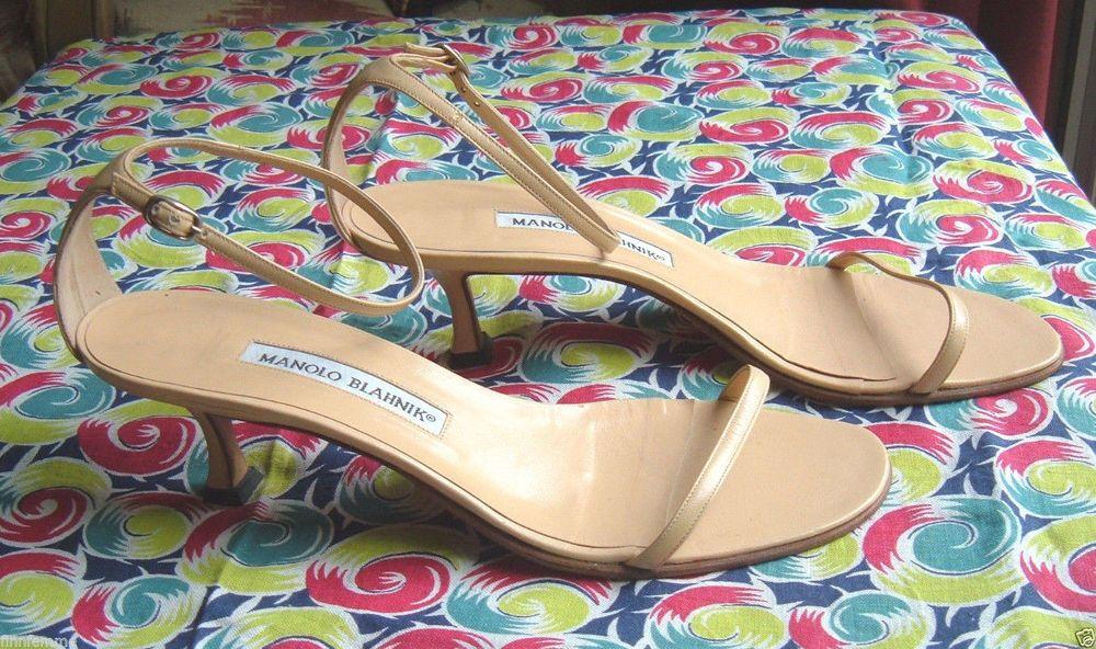 MANOLO BLAHNIK Nude Leather Ankle Strap Kitten Heel Sandals Shoes 38.5/8.5 ITALY #ManoloBlahnik #Strappy