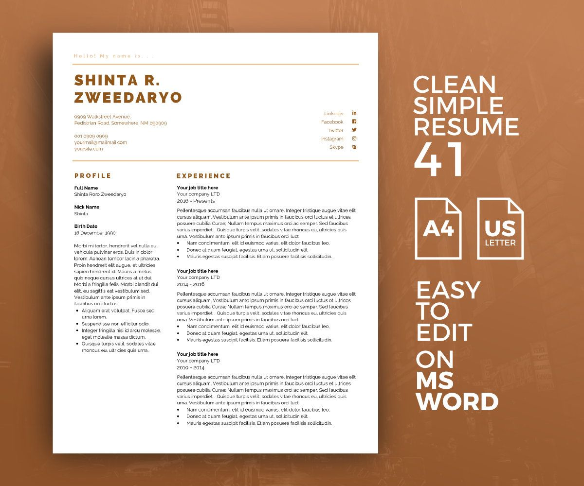RESUME 41 MS Word Template https//etsy.me/2I2c12B