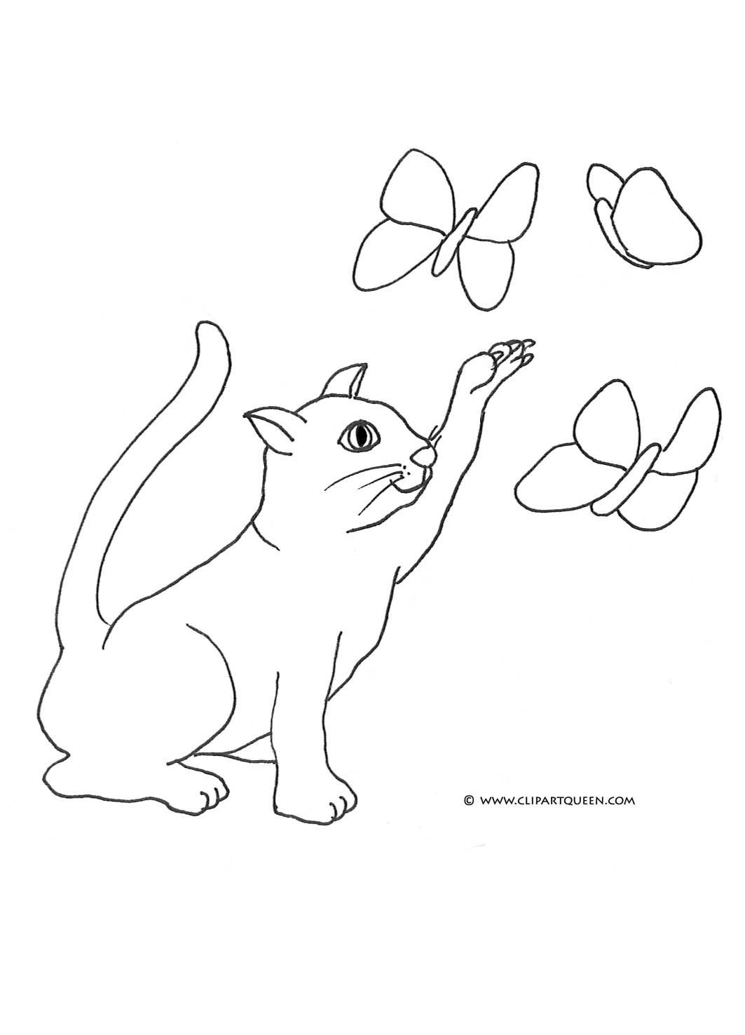 funny cat clip art cat coloring pages cat catching butterflies
