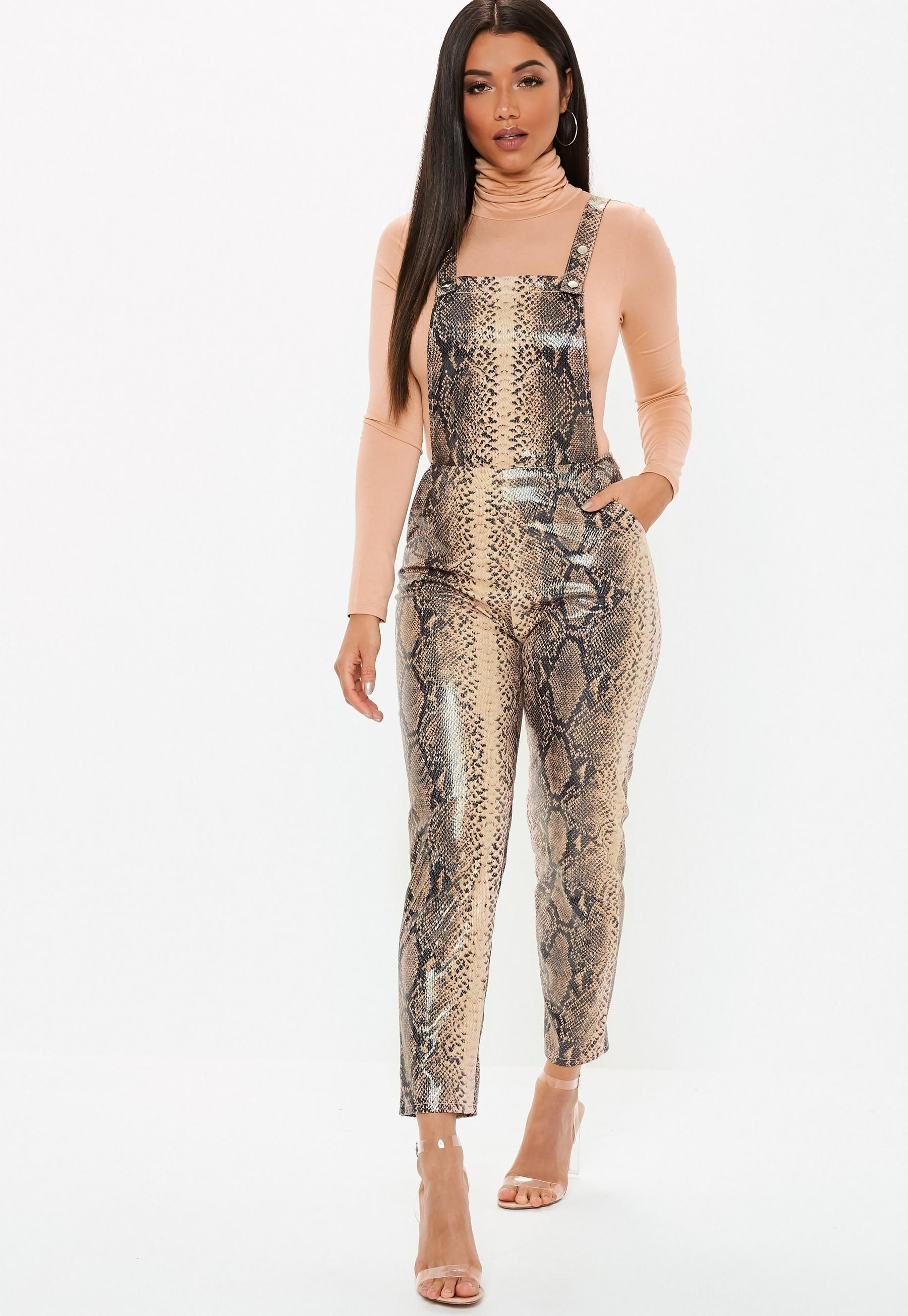 aee7cd2a6e9 Brown Faux Leather Snake Print Dungaree Jumpsuit in 2019