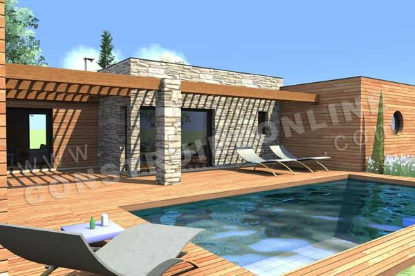 Plan maison contemporaine toit plat recherche google maison en 2019 house plans house et - Plan maison plain pied avec piscine ...