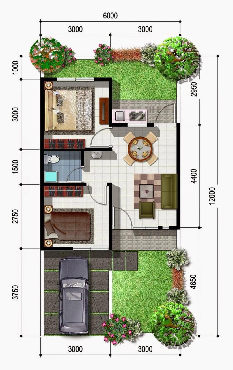 Denah Rumah Ukuran 6x12 2 Lantai | Huniankini