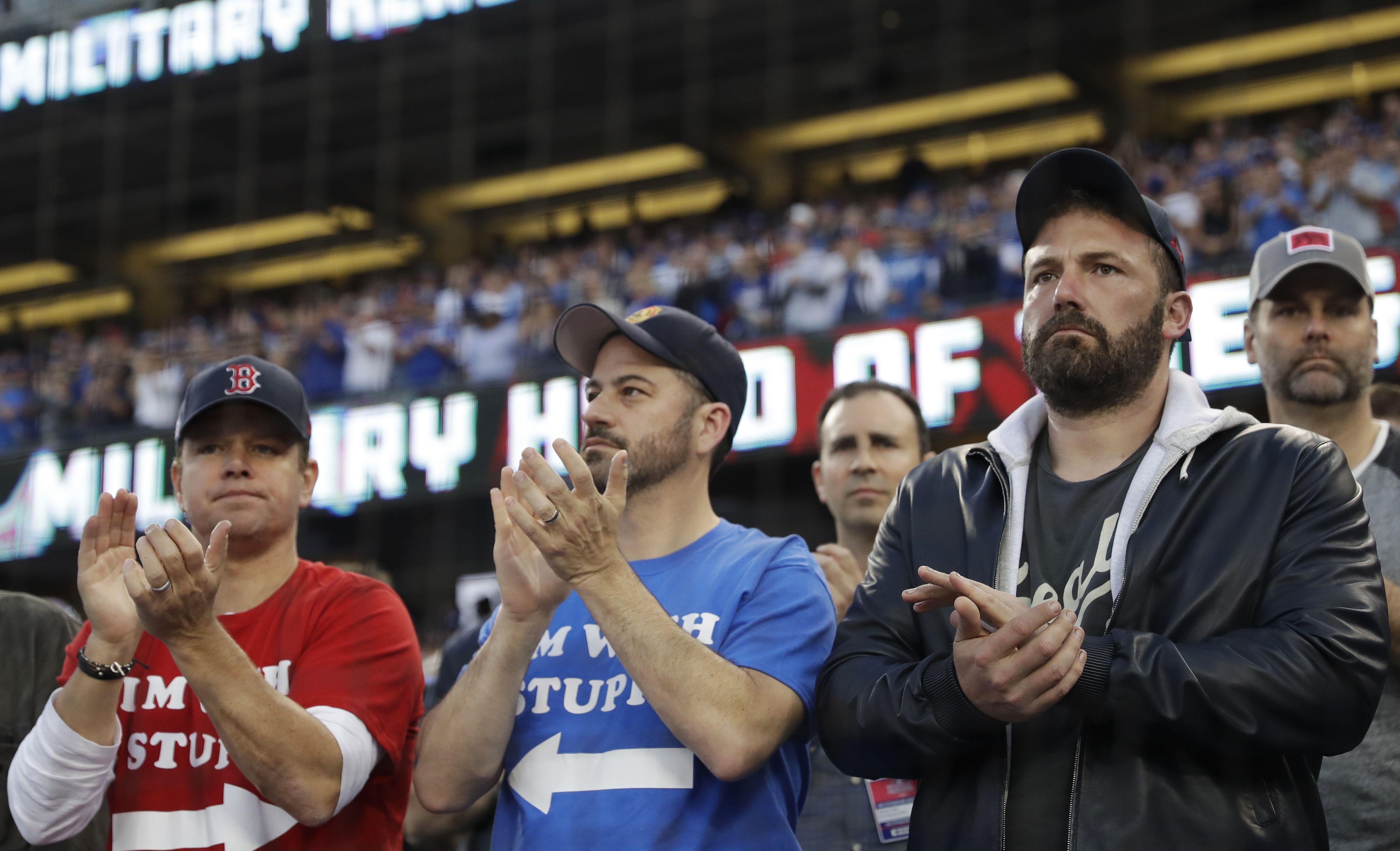 Matt Damon Ben Affleck And Jimmy Kimmel In The House For Game 5 Of The World Series The Boston Globe Ben Affleck World Series Red Sox Nation