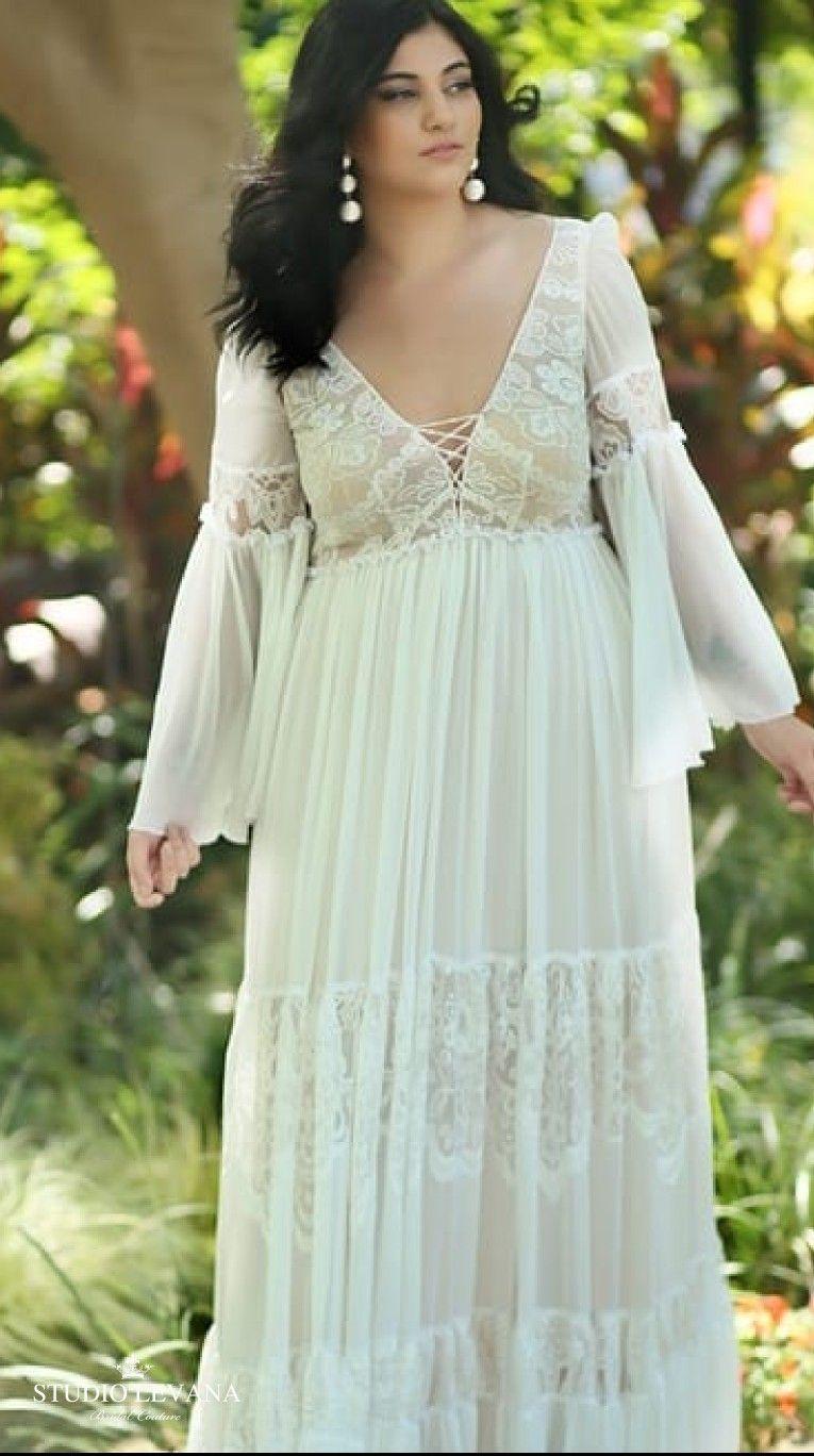Romantic Boho Plus Size Wedding Gown With Sleeves Alena Studio