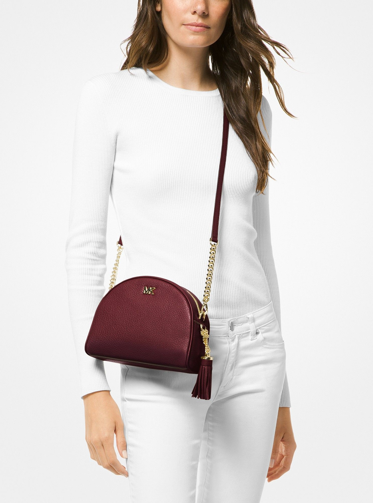4501526475c4 Michael Kors Ginny Pebbled Leather Half-Moon Crossbody - Oxblood ...