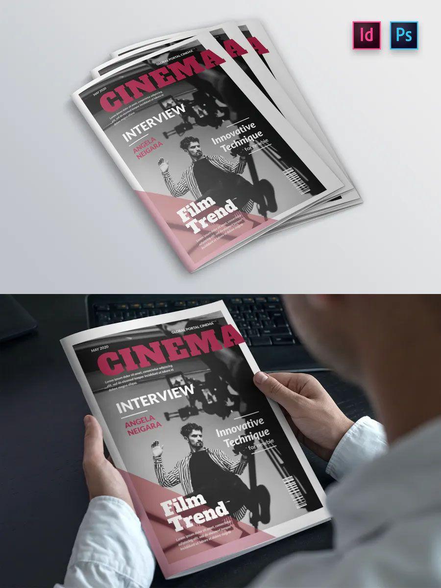 Cinema Magazine Cover Indesign Template in 2020 Indesign