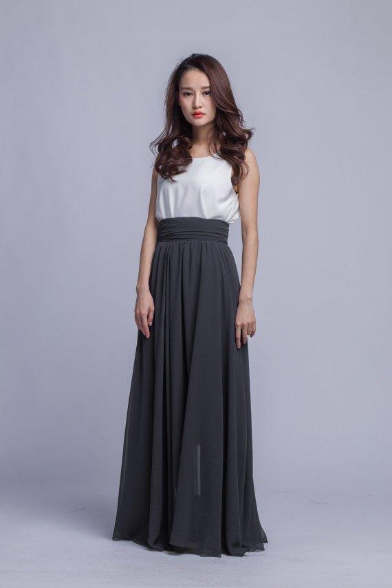 4f891389de9d High Waist Chiffon Maxi Skirts Women Pleated Waist Long Skirt Floor Length  Summer Skirt (401) ,49#