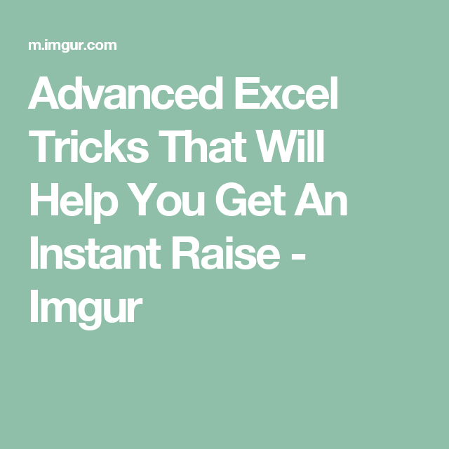 advanced excel tricks that will help you get an instant raise
