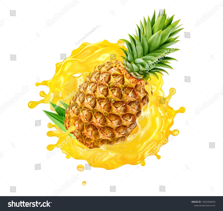 Fresh Ripe Pineapple Slice And Pineapple Juice Splash Wave Healthy Food Or Tropical Fruit Drink Liquid Ad Labe Ripe Pineapple Pineapple Tropical Fruit Drinks