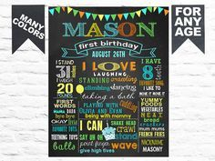 SALE Printable First Birthday Party chalk board milestone poster banner sign chalkboard for girl boy cupcake balloons blue green orange (63