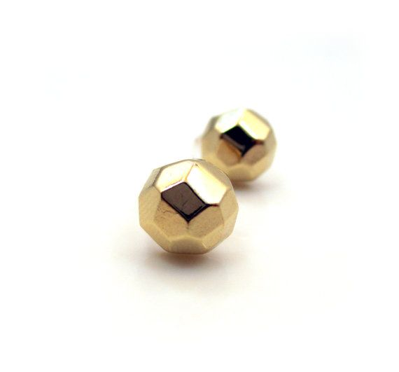 Tiny Stud Earrings. Gold Post Earrings. Geometric by sparklingtwi, $8.95