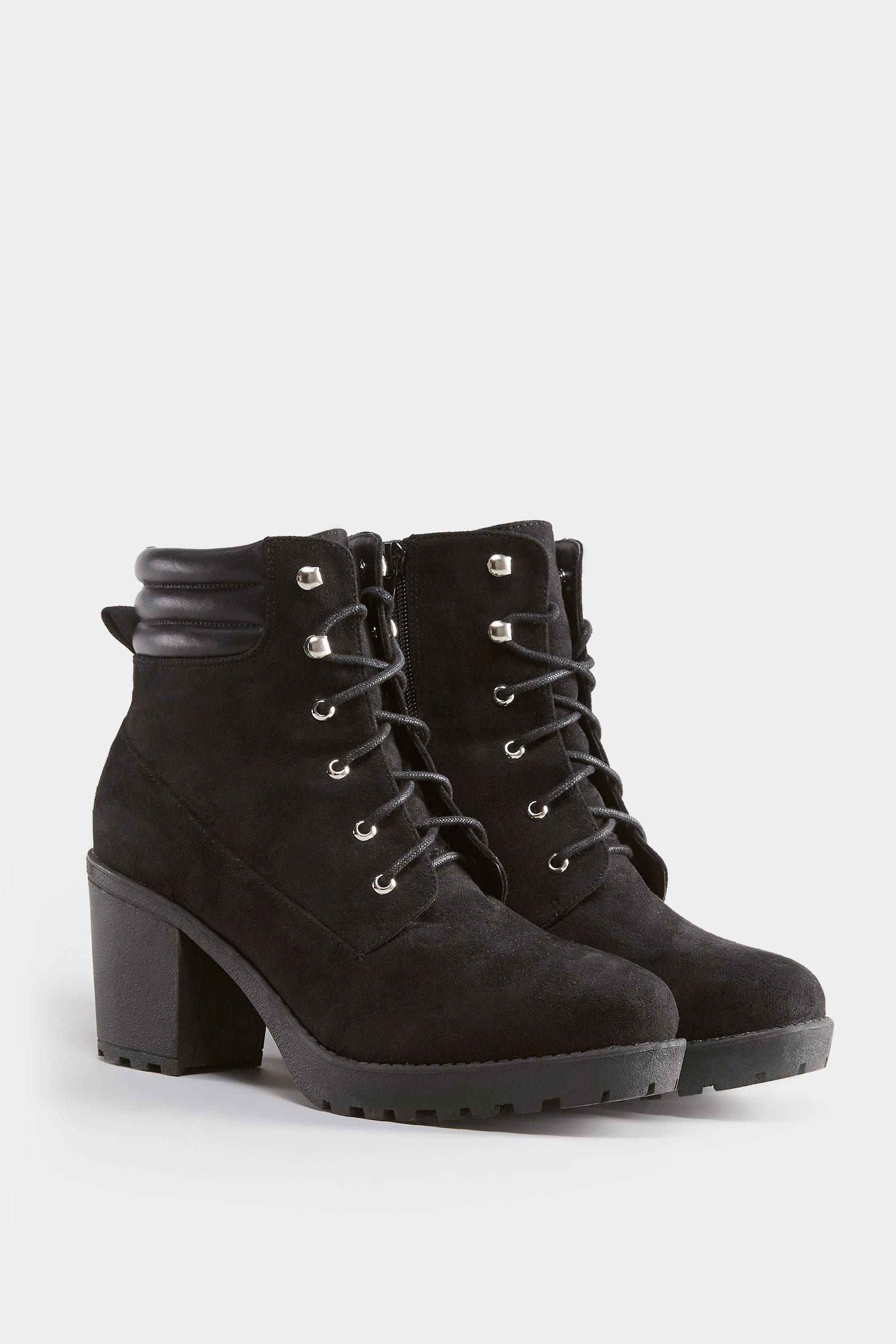6254002055 Black Lace Up Heeled Ankle Boot In EEE Fit, Wide Fitting Sizes 4EEE to 10EEE
