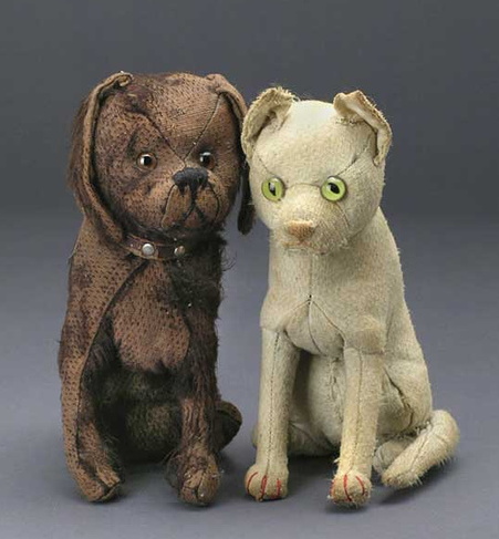 Antique Stuffed Dog Cat Toys With