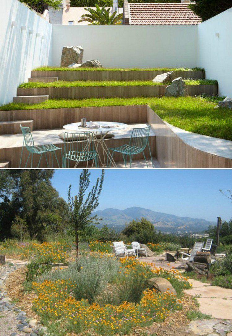 Jardin De Rocaille En Pente Avec Murs De Soutenement En Bois