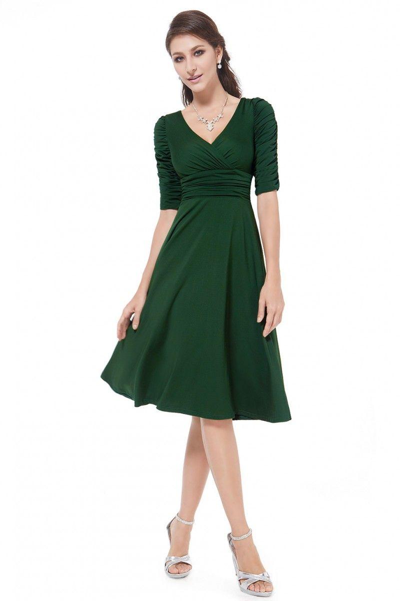 Dark Green V Neck 3 4 Sleeve High Stretch Short Casual Dress Casual Cocktail Dress Short Dresses Casual Simple Short Dresses [ 1200 x 800 Pixel ]