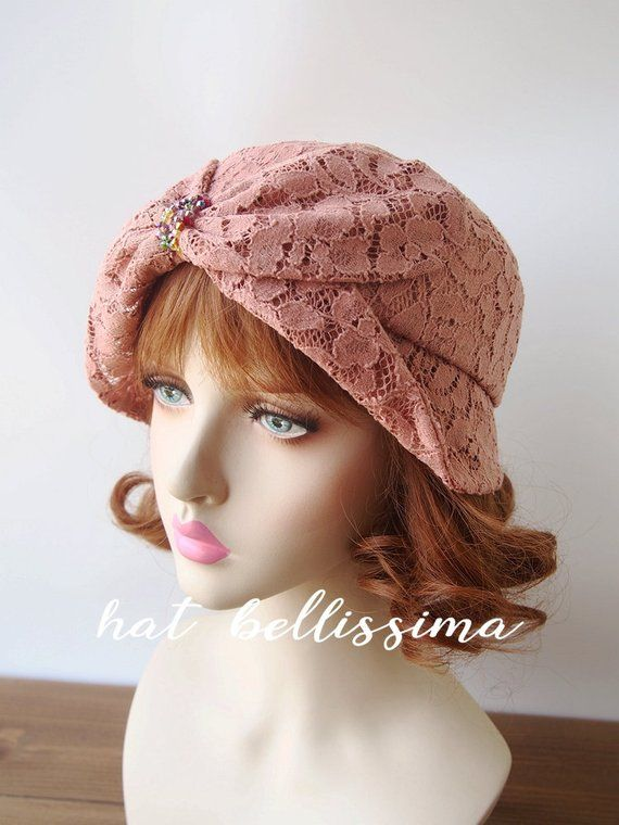 9969a3ad4 SALE 1920's Vintage Cloche Hat Lace fabric Vintage Style hat ...