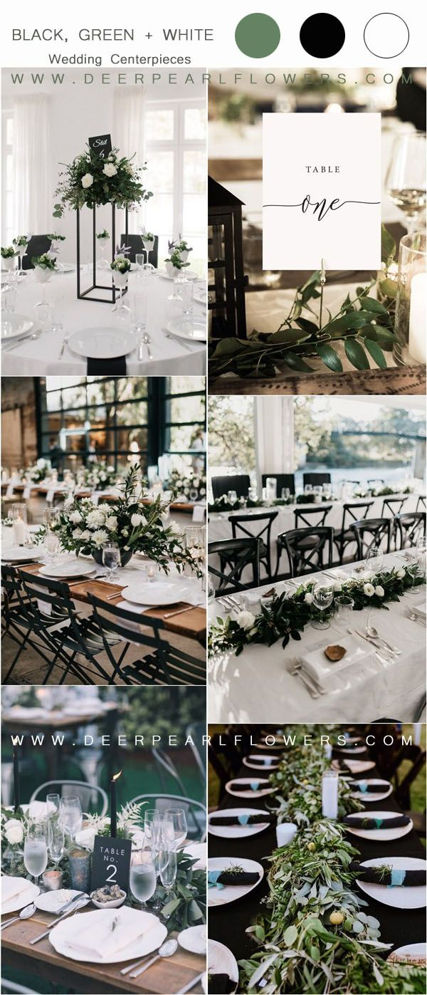 36 Black, Green and White Wedding Color Ideas for Spring | My Deer Flowers - Part 2