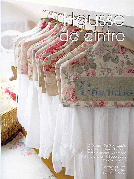 Housses de cintres couture pour la maison cintres housse vetement et broderie - Couture pour la maison ...