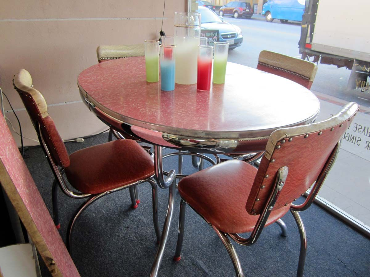 Vintage Chrome Dinette Set Sweet Pink Seating