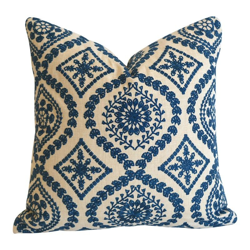 Offered is one Embroidered Folk Art Linen Pillow Cover, same fabric both sides and invisible zipper closure.