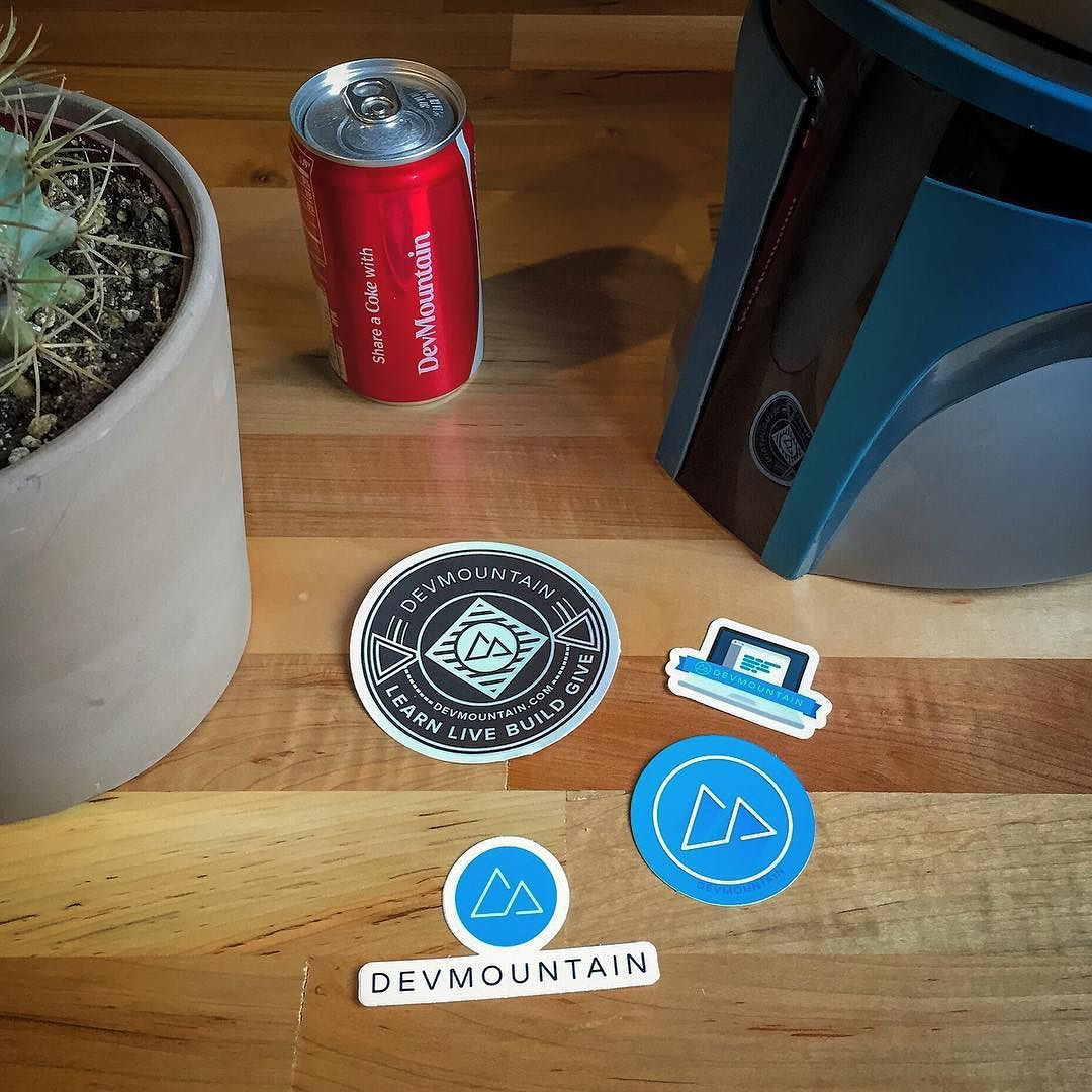 DevMountain giveaway! How to enter: Simply tag a friend in the comments who you think would love some stickers.  We will randomly pick someone from the comments to win a pack of DM stickers for them and their tagged friend. Mailed directly to your doorstep! Giveaway closes Saturday 9/19 at noon (Mountain Time). Good luck my friends!! by devmtn
