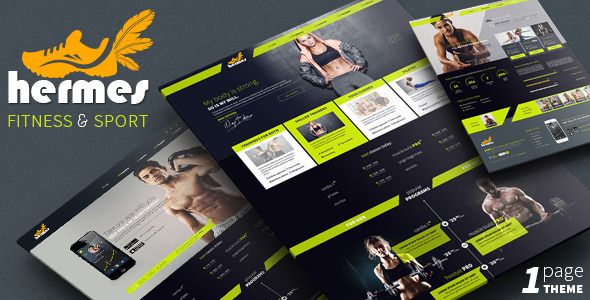 Hermes Fitness One Page Psd Template Psd Templates Best Templates Templates