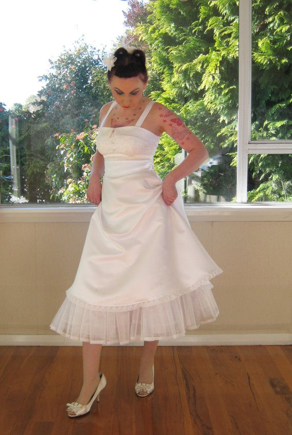 1950s Lucille Rockabilly Style Wedding Dress With A Lace Bodice