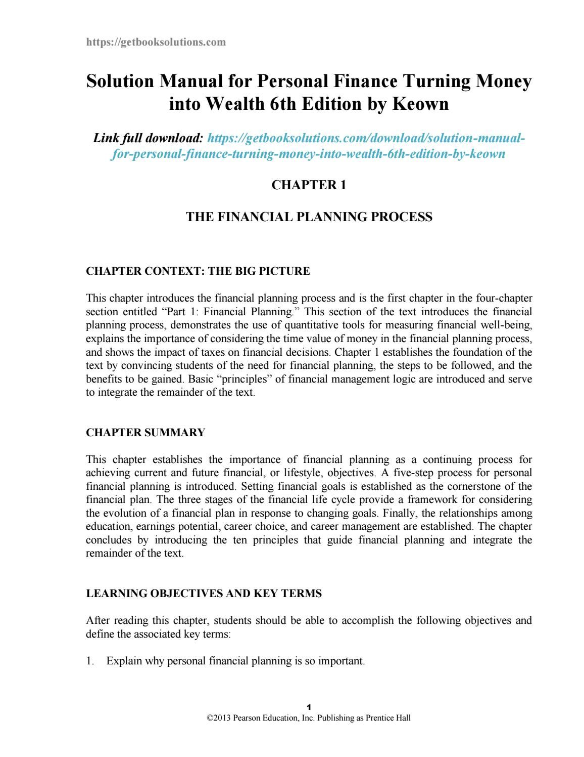 Wealth · Solution manual for personal finance turning money into wealth 6th  edition by keown