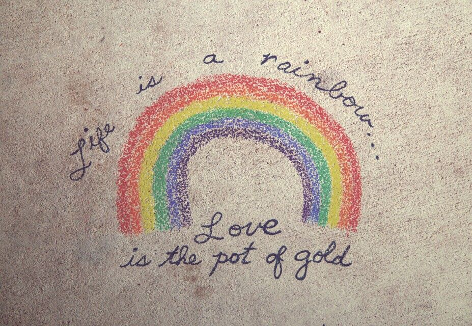 Life Is A Rainbow Love Is A Pot Of Gold Rainbow Quote Gold Quotes Rainbow