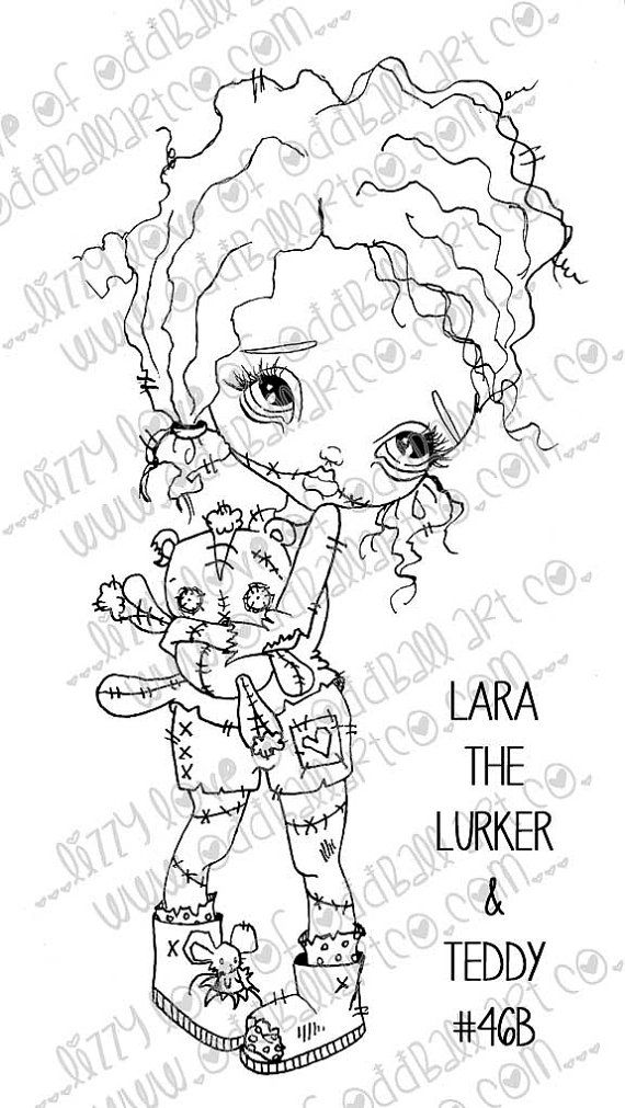 Digi Stamp Set Of 4 Digital Instant Download Big Eye Zombie Girl Image No 46 46b 46c 46d By Lizzy Love Doll Drawing Digi Stamp Zombie Girl Tattoos