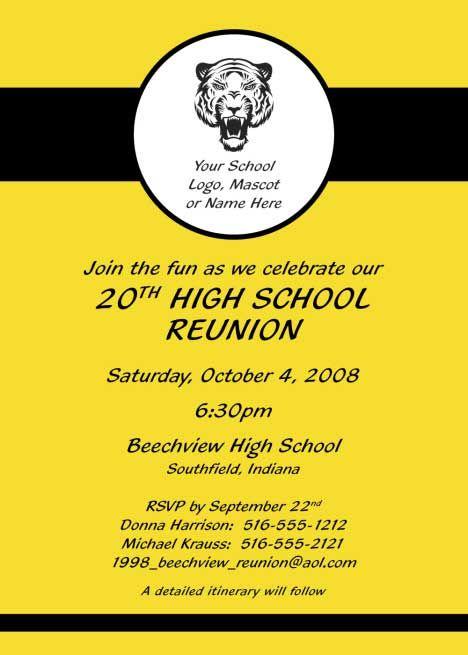 Reunion Party Invitation / Add your school\u0027s logo to your invitation