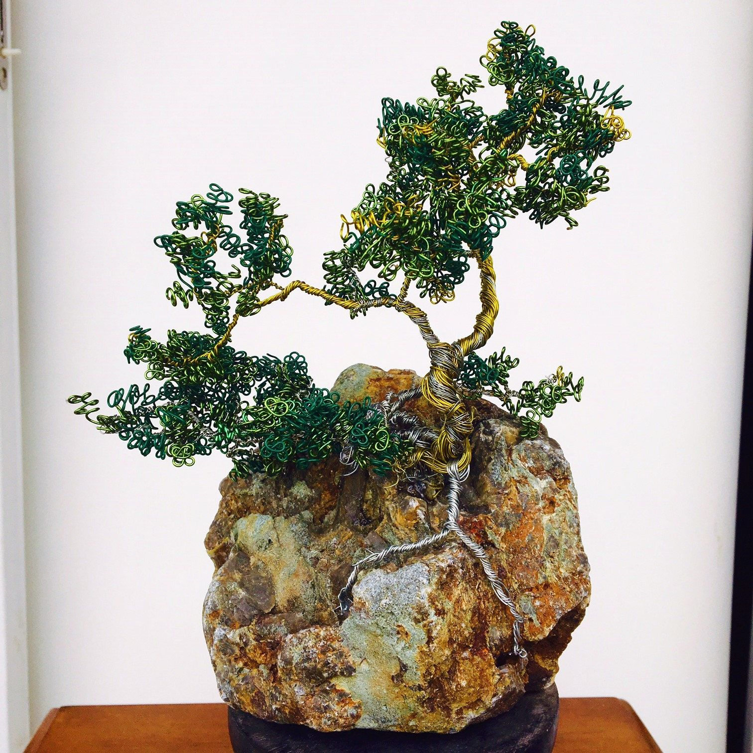 Copper Wire Bonsai Tree On Stone By Studiosinnett Etsy Wiring Video