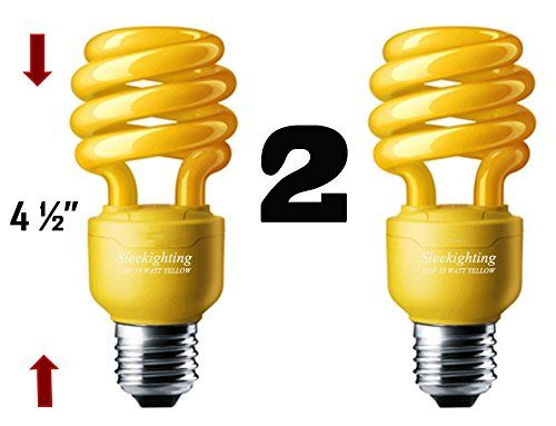 Sleeklighting 13 Watt Yellow Bug Light Spiral Cfl Light Bulb 120volt E26 Medium Base Pack Of 2 For More Information Visit Light Bulb Bulb Light Bulbs