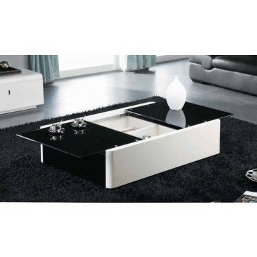 Modern Black And White Coffee Table With Storage Aosta Coffee