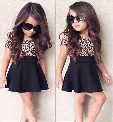 2pcs/Set Baby Girls Kid Summer Dress Clothes Leopard Short Sleeve T-Shirt + Black Mini Skirt 1-6T