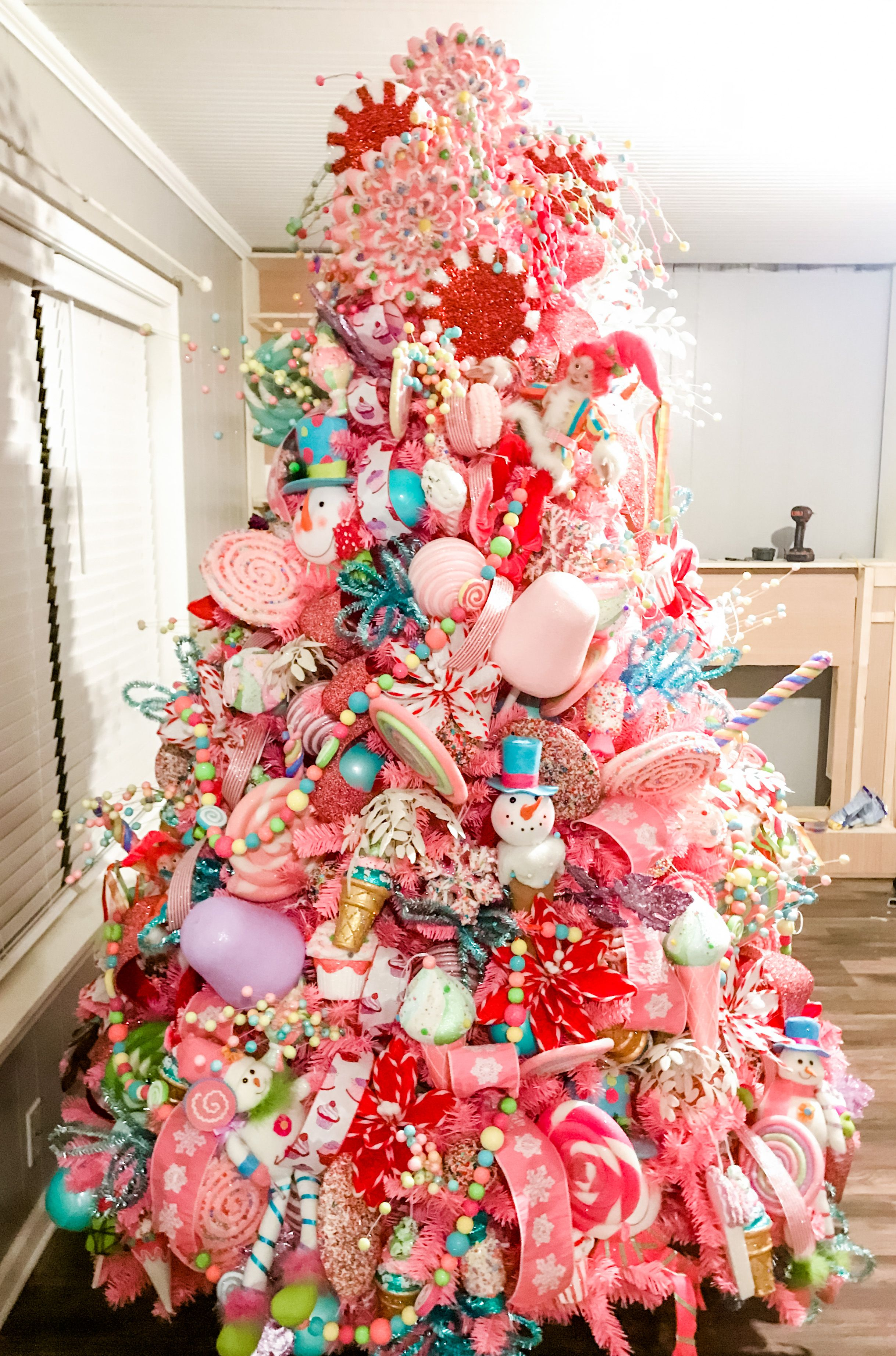 Candy Christmas tree in 2020 | Candy christmas tree, Pink