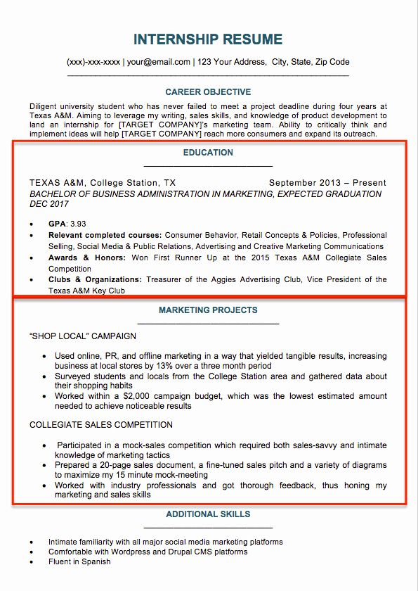 Resume Template College Student Inspirational College
