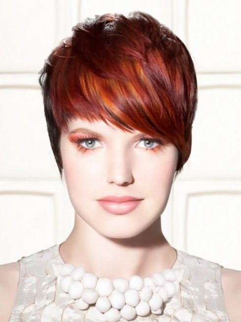 Red Highlights Hair Color Short Hair Style @jessie deleskie