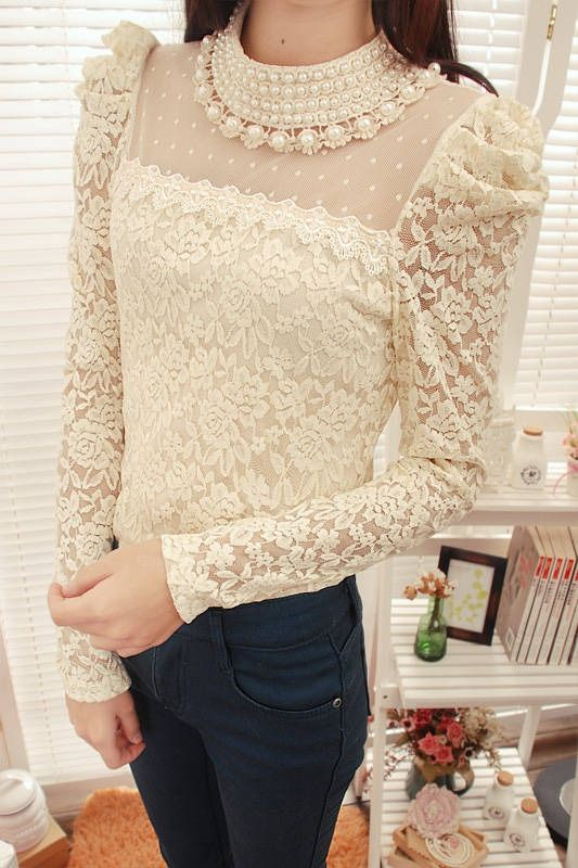 Elegant Stand Collar Splicing Design Openwork Faux Pearl Embellished Puff Sleeves Spandex T-Shirt For Women (BLACK,ONE SIZE) China Wholesale - Sammydress.com