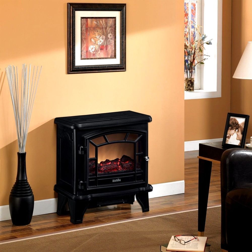 Electric Stove With Heater Black Home 4,600 BTU Heating Up To 400 Square  Foot