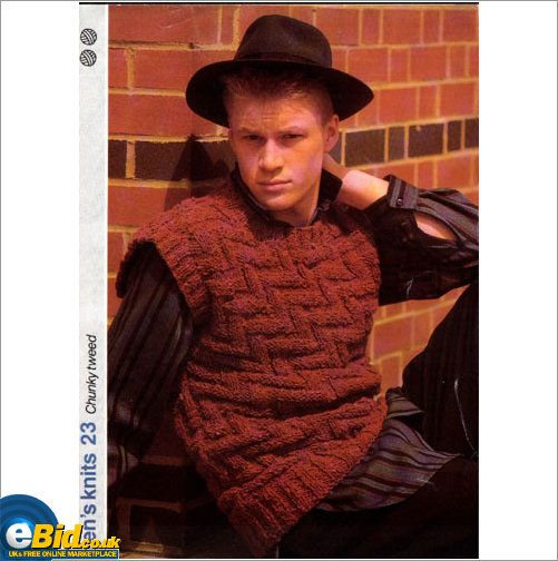 Gents Mans Slipover Top Chunky Yarn Knitting Pattern Mens Patterns
