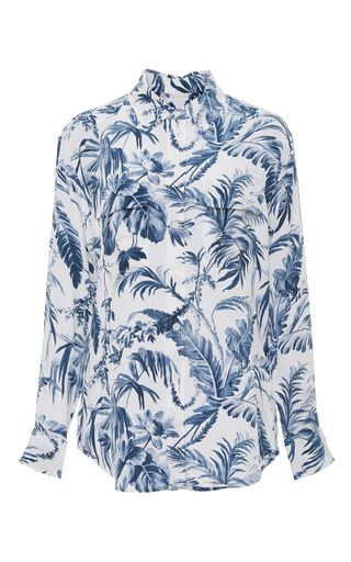 Silk Printed Signature Long Sleeve Button Down Shirt by EQUIPMENT Now Available on Moda Operandi