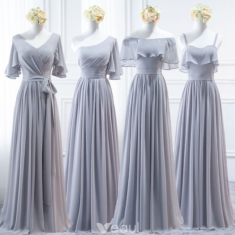 680eab315e Modest   Simple Grey Chiffon Bridesmaid Dresses 2018 A-Line   Princess Sash  Floor-Length   Long Ruffle Backless Wedding Party Dresses