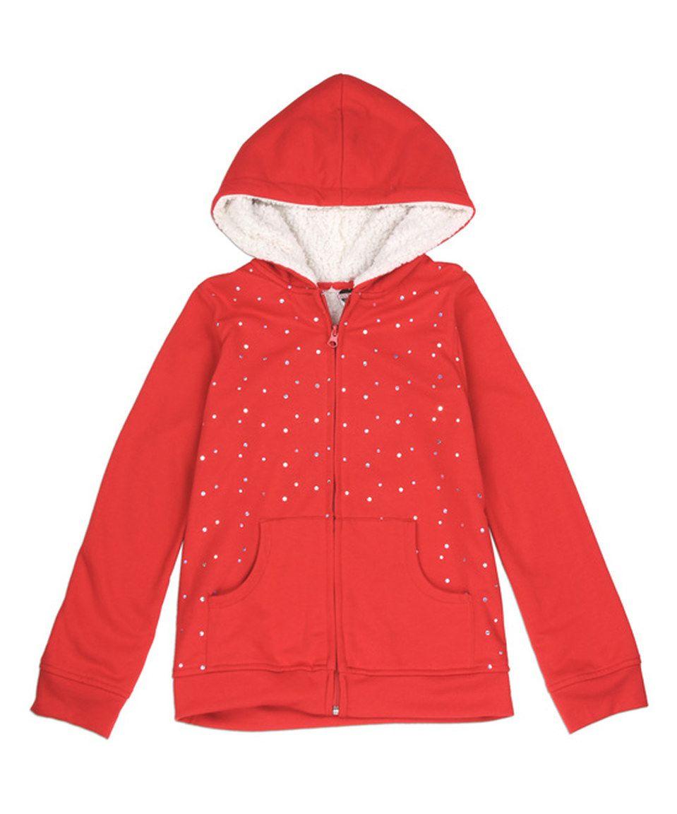 Red & White Rhinestone Zip-Up Hoodie - Girls by Penguin Kids Wear #zulily #zulilyfinds