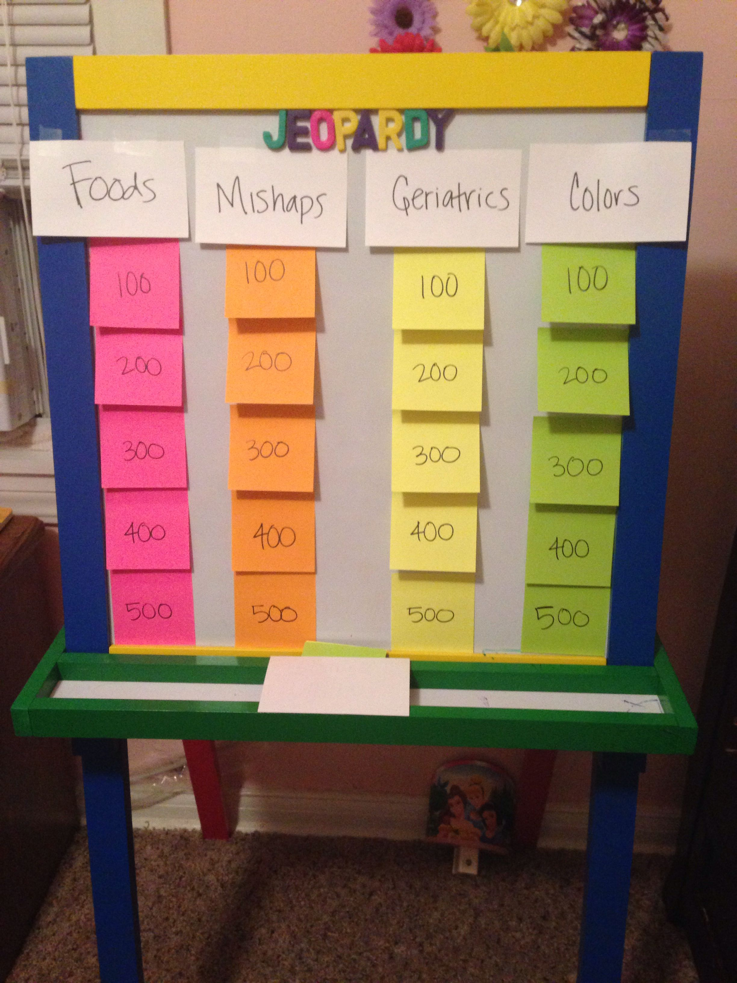Jeopardy baby shower game create different categories nursery