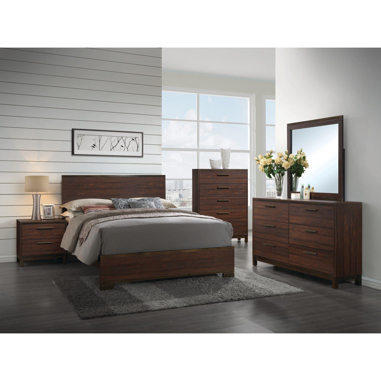Carbon Loft Transitional Rustic Tobacco 4piece Bedroom