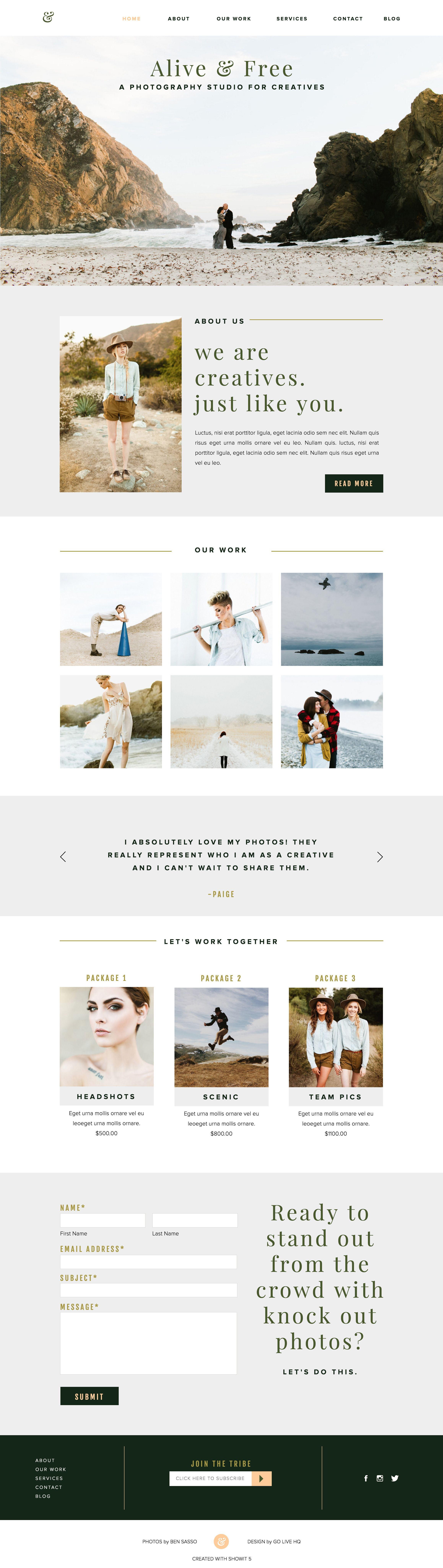 alive free showit free photography website template branding