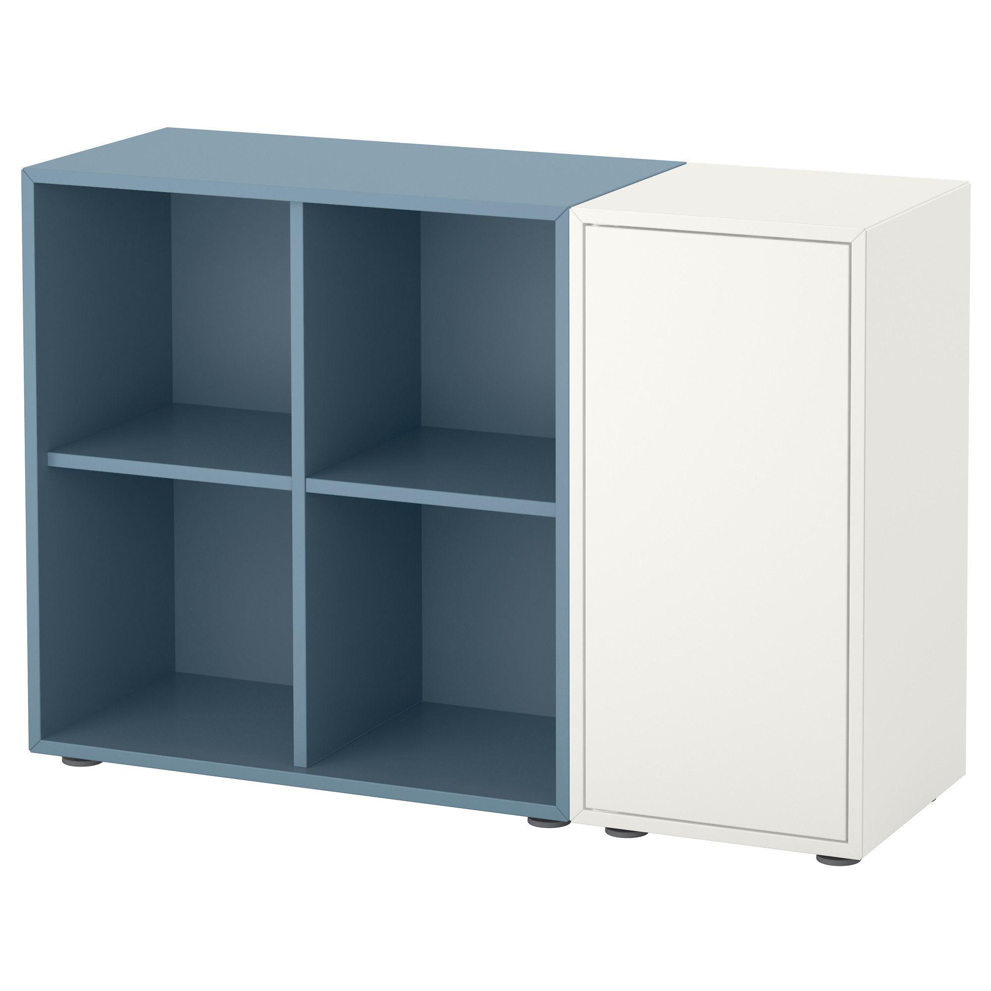 Eket Storage Combination With Feet, White, Light Blue